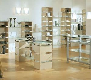 Aury 21/RE, Aussteller modern, Glasböden, für Geschäfte und Boutiquen