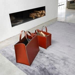 ART. 907/106, Baskets in Leder, für Magazine oder ein Protokolle Kamin