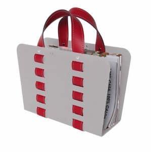 L-Bag02, Zeitschriftenständer aus Stahl und Leder für Wartezimmer