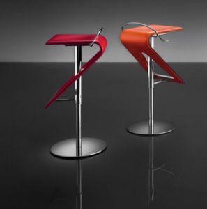 ART. 245 ZAG Leder, Moderne verstellbare Hocker, Sitz aus Leder, für Bars