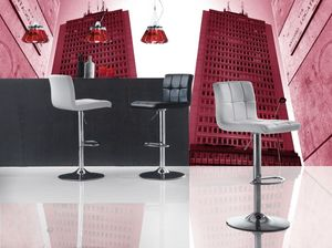 Art. 574 Jazz, Höhenverstellbarer Hocker, Sitz aus Kunstleder