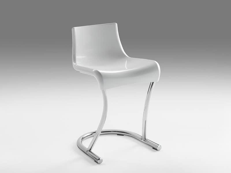 Flamingo 3, Metallstuhl mit Sitz in Kunststoff, für Moderne Häuser