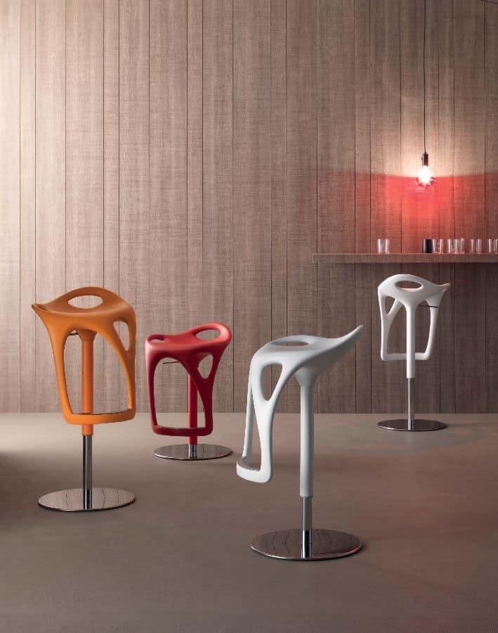 original barhocker aus polyurethan runde basis verchromt idfdesign. Black Bedroom Furniture Sets. Home Design Ideas
