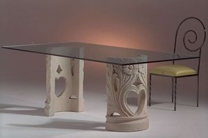 Amos, Esstisch mit doppelt dekorierter Basis