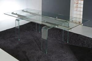 Art. 676 Glass, Tisch mit Beinen und ausfahrbaren Glasplatte