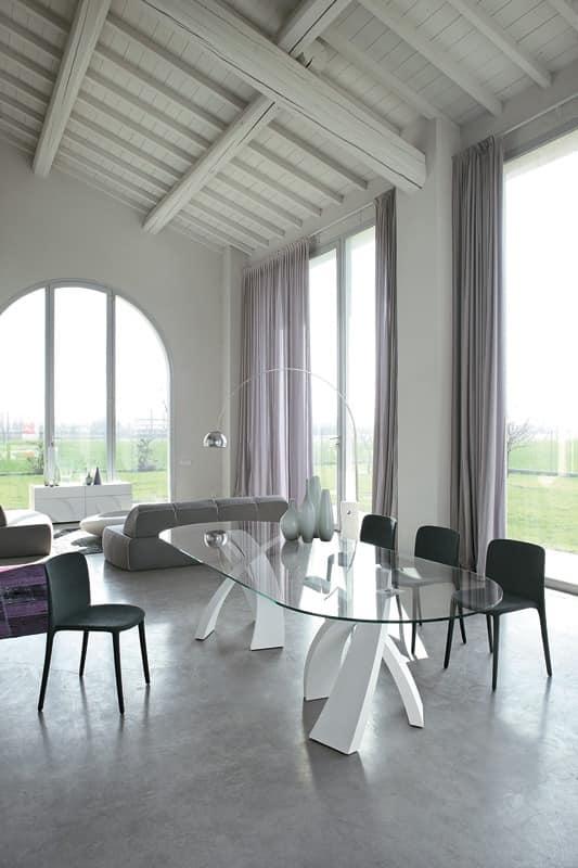 ovalen tisch design glasplatte f r die gastst tten idfdesign. Black Bedroom Furniture Sets. Home Design Ideas
