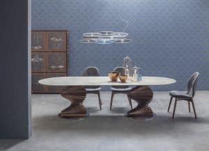BIG FIRENZE, Tisch mit Glasplatte für Wohnzimmer und Küchen