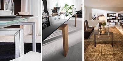BROOKLYN, Ausziehbarer Tisch aus Glas und laminiert, für Wohnzwecke