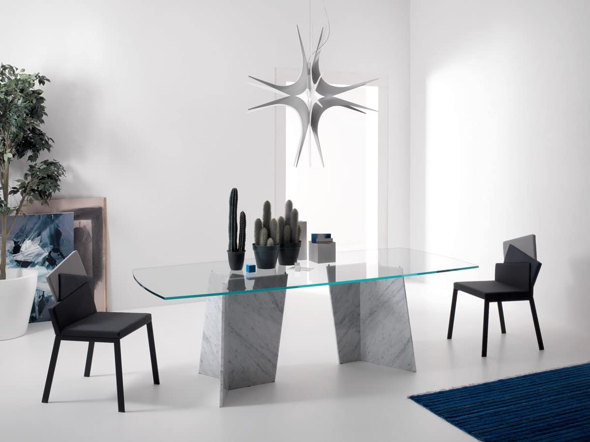 Tisch mit Sockel aus Marmor, Esstisch, Tisch mit Abdeckplatte aus Glas ...