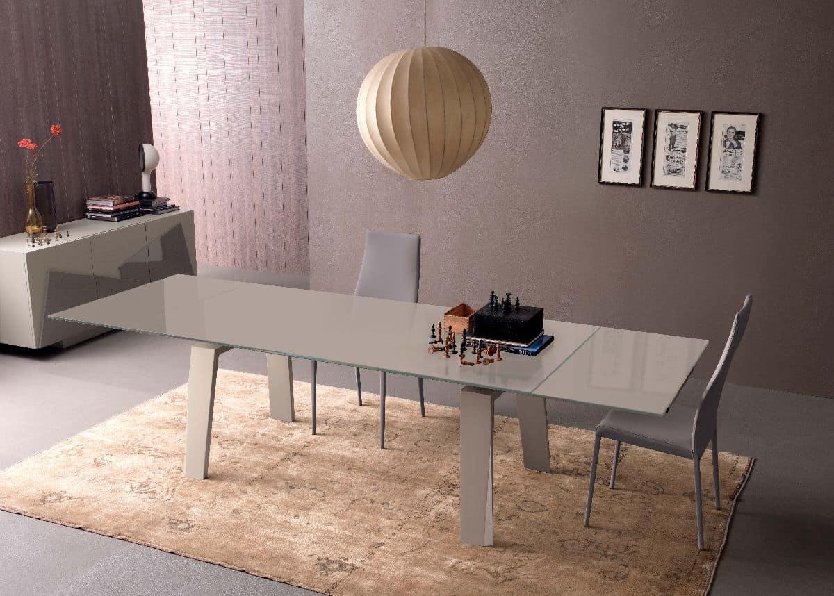 ausziehbarer tisch aus glas und holz f r die moderne k che idfdesign. Black Bedroom Furniture Sets. Home Design Ideas