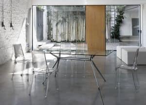 Metropolis 180x90cm, Rechteckiger Design Tisch, Glasplatte