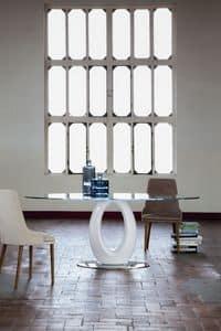 tisch mit elliptischen glasplatte sockel aus lackiertem. Black Bedroom Furniture Sets. Home Design Ideas