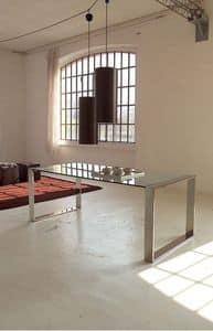 Ring table, Esstisch aus Metall, Glasplatte