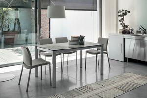 SOLE 140 TA180, Ausziehbarer Tisch, Metall, Glas