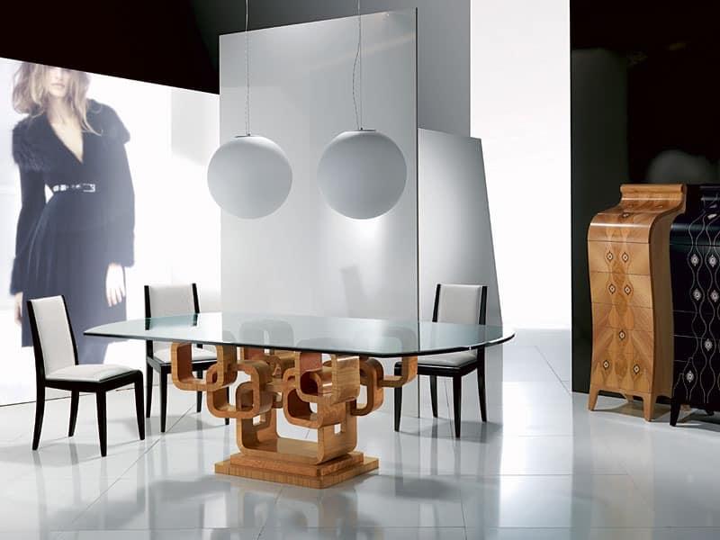 Moderne Esstisch, Glasplatte, mit Einlage | IDFdesign