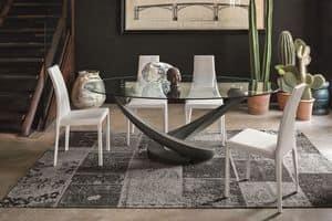 TANGO TP201, Oval Tisch mit Glasplatte für die moderne Küche
