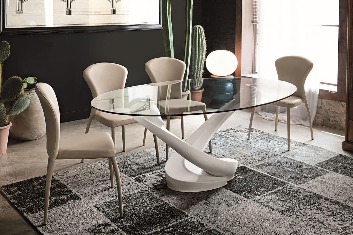 Oval Tisch mit Glasplatte für die moderne Küche   IDFdesign