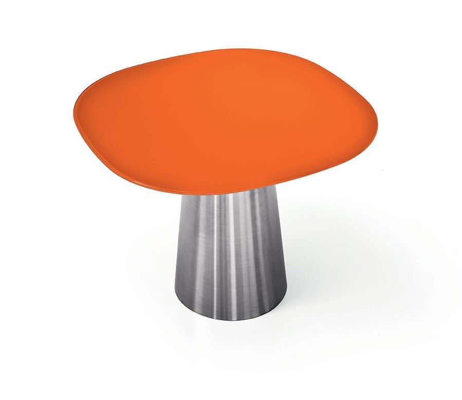runder tisch mit sockel aus edelstahl oder lackiertem metall idfdesign. Black Bedroom Furniture Sets. Home Design Ideas