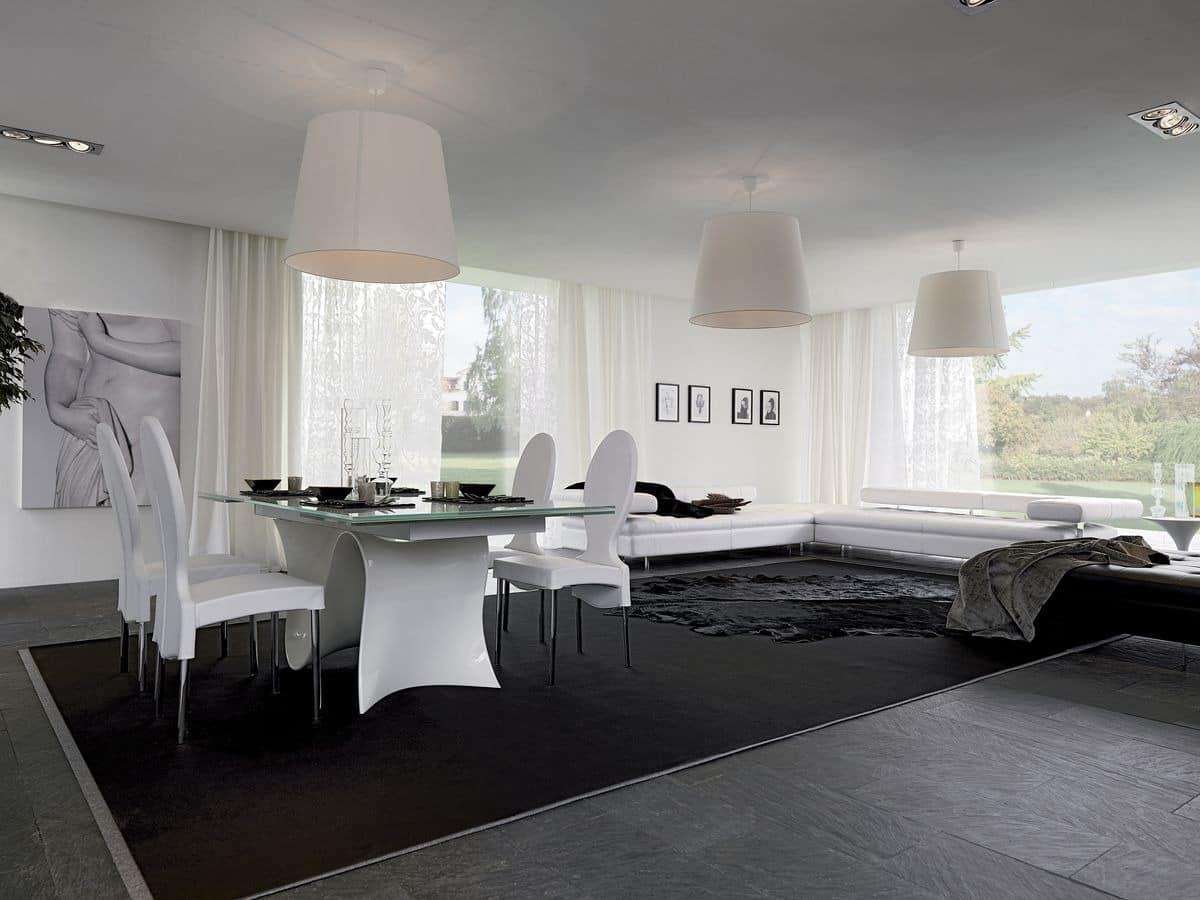 WAVE, Ausziehbarer Esstisch, Glasplatte, für Wohnzimmer