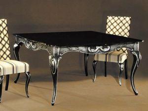 Ester Tisch, Eleganter Tisch aus schwarz lackiertem Holz