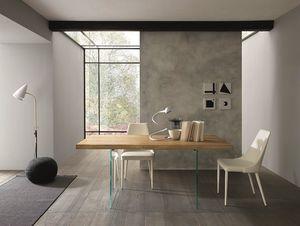 Meridiano, Esstisch mit Holzplatte und Glasbeine