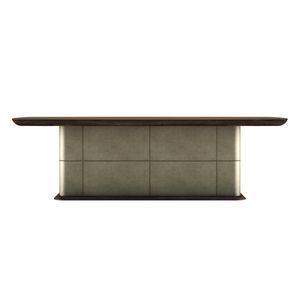 Nevada Tisch, Rechteckiger Tisch mit Lederfuß