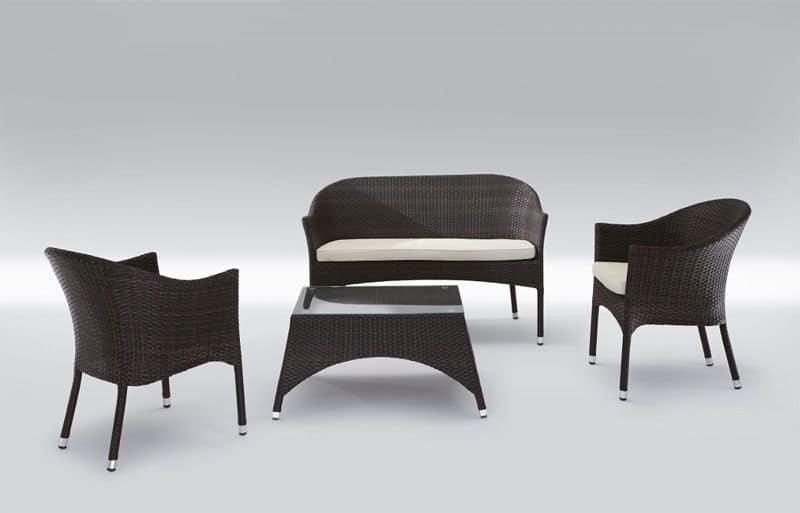 Rio Set, Sitz Und Tisch In Natürlichen Oder Synthetischen Korbweide Patio