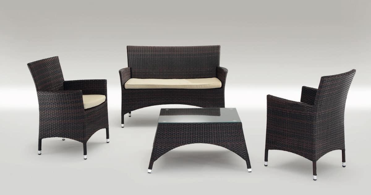 San Diego Set, Moderne Sitze und Tisch aus Aluminium, für draußen