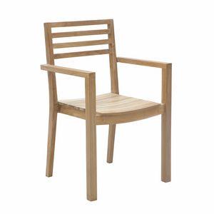 Dehors 0345, Stapelbarer Stuhl aus Holz für den Außenbereich