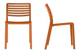 Lama - S, Kunststoff-Stuhl mit Rückenlehne mit horizontalen Lamellen