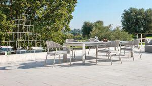 Dolmen low, Ausziehbarer Tisch aus Aluminium für den Außenbereich
