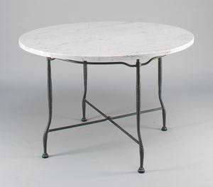 INTRECCIO GF4004TA-D90, Gartentisch mit runder Marmorplatte