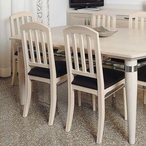 Alì 112, Stuhl mit gepolstertem Sitz, Gestell aus gebleichter Esche