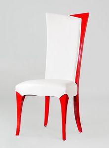 BS216S - Stuhl, Kunstlederstuhl mit hoher Rückenlehne