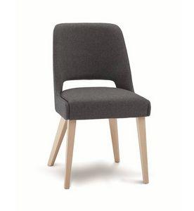 C65, Gepolsterter Stuhl mit Holzbeinen