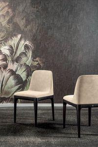 GILDA, Stuhl mit Holzfuß und Kaltschaumstruktur