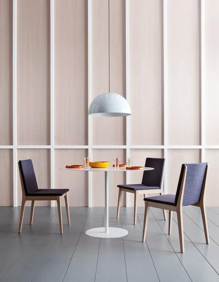 IRLANDA S, Gepolsterter Stuhl aus Holz ohne Armlehnen