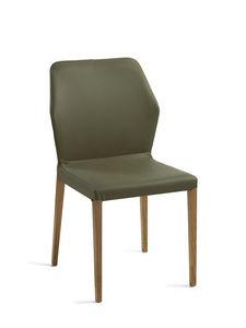 Mirò Holzbeine, Stuhl mit Holzbeinen, gepolstertem Sitz und Rücken