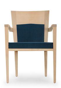 Nico PLUS ARMS, Gepolsterter Stuhl mit Armlehnen, mit Holzstruktur