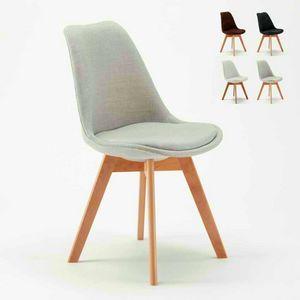 NORDICA PLUS Skandinavischer Designstoff Stuhl Mit Kissen Für Küche Und Bar, Polsterstuhl im skandinavischen Stil