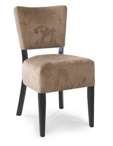 PORTOCERVO S, Holzstuhl mit gepolstertem Sitz