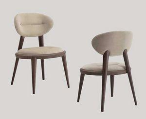 Ramon Stuhl, Gepolsterter Stuhl mit konischen Beinen