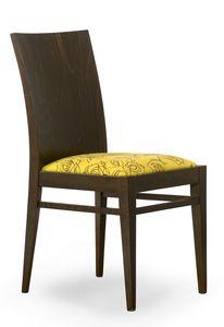 Sirio, Stuhl mit Holzrücken und gepolsterter Sitzfläche