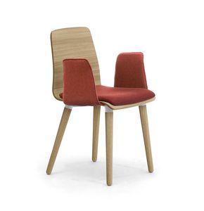 Zerosedici Wood 4GL, Holzstuhl mit gepolsterten Armlehnen und Sitz