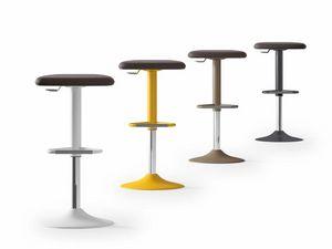 UPPER, Gepolsterter Hocker aus Stahl, in verschiedenen Farben lackiert