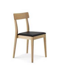 1082, Linearer Holzstuhl mit gepolstertem Sitz, stapelbar