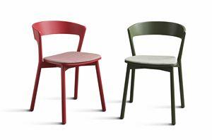 ART. 071-IMB EDITH, Stuhl aus Massivholz lackiert, mit gepolstertem Sitz