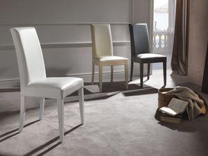 Art. 122 Vertigo Slim, Stuhl mit Leder bezogen, Beine aus Holz in passendes Finish