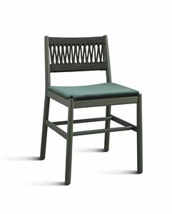 ART. 0025-IN-IMB JULIE, Stuhl mit Seil geflochtene Rückenlehne und gepolsterter Sitz