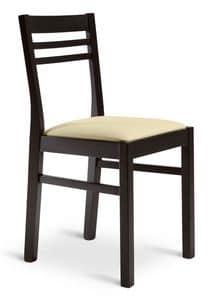 GAIA, Linear Holzstuhl, gepolsterter Sitz, den Objektbereich